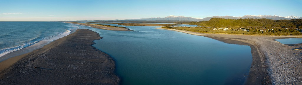A panoramic view of Okarito Lagoon, shot from over the beach with a UAV based camera.